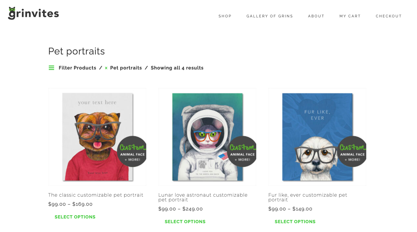 Grinvites ecommerce site design, shop page